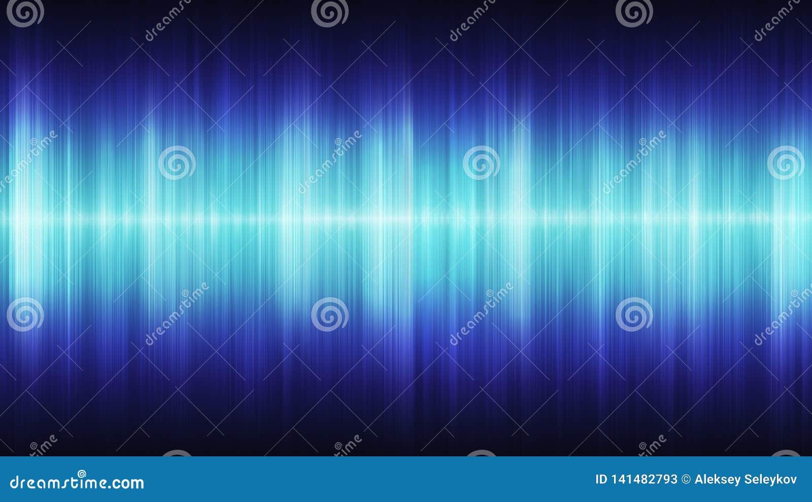 Glödande blåa kosmiska solida vågor på en svart bakgrund