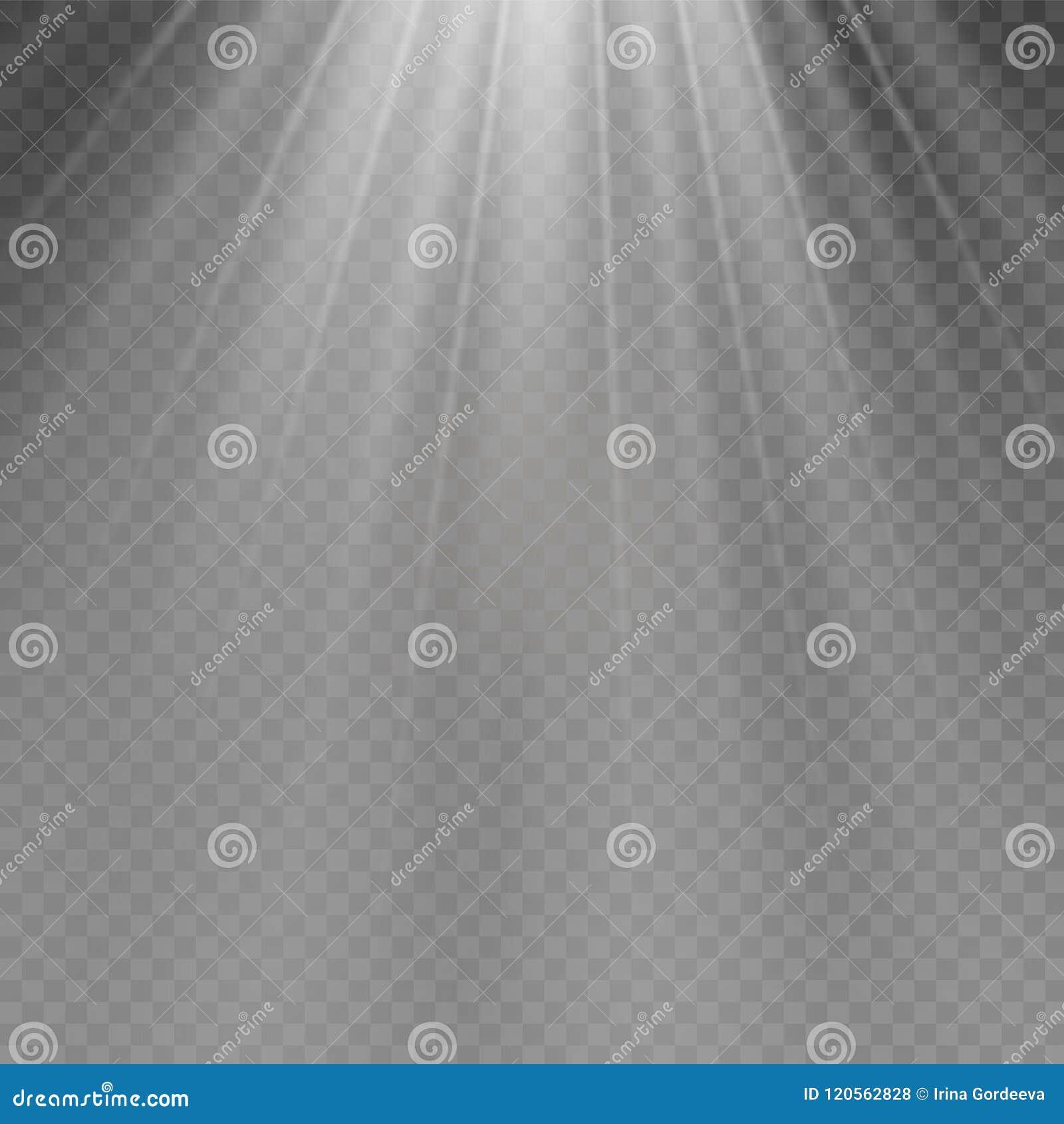 Glödande ljus bristningsexplosion för vit på genomskinlig bakgrund Garnering för ljus effekt för vektorillustration med strålen