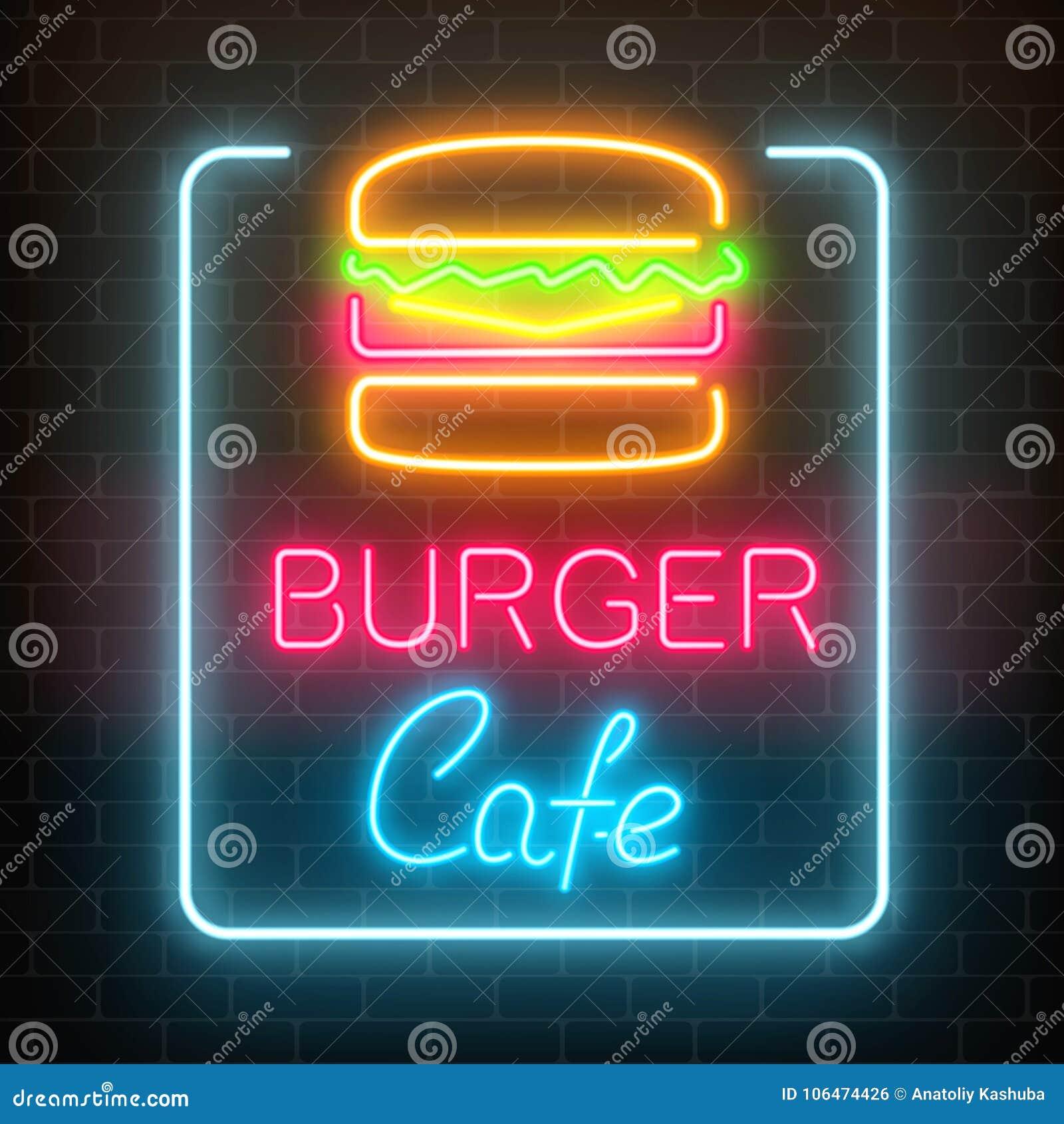 Glödande skylt för neonhamburgarekafé på en mörk bakgrund för tegelstenvägg Ljust affischtavlatecken för Fastfood