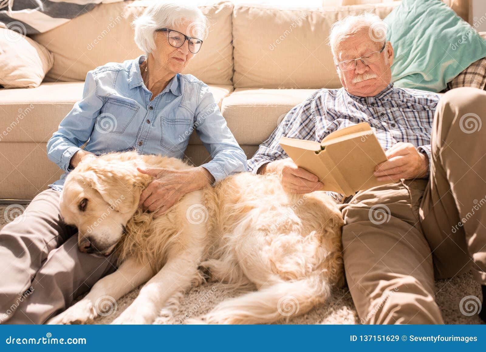 Glückliche ältere Paare im sonnenbeschienen Haus