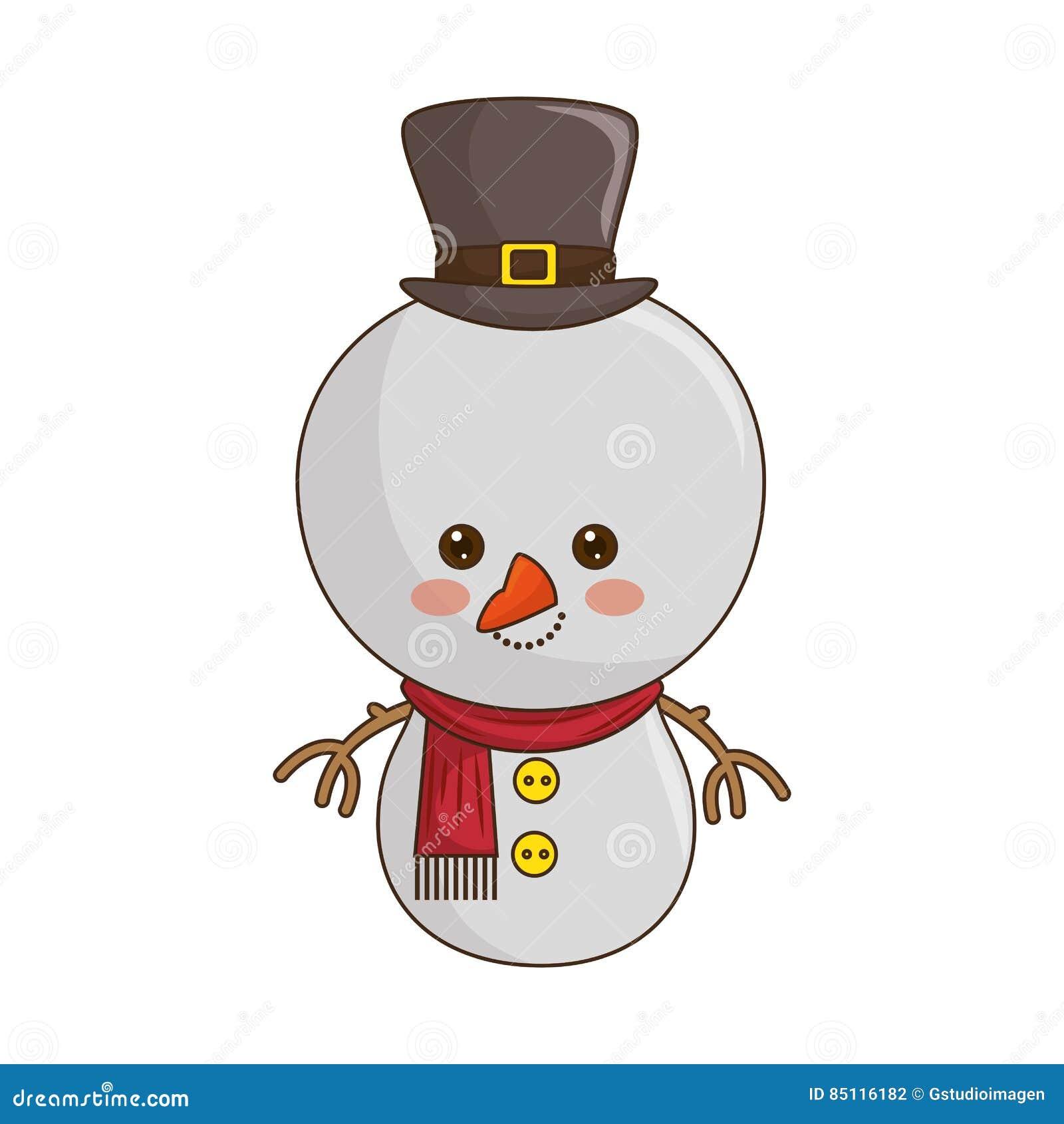 Glückliche Art Kawaii Schneemann Der Frohen Weihnachten Stock ...