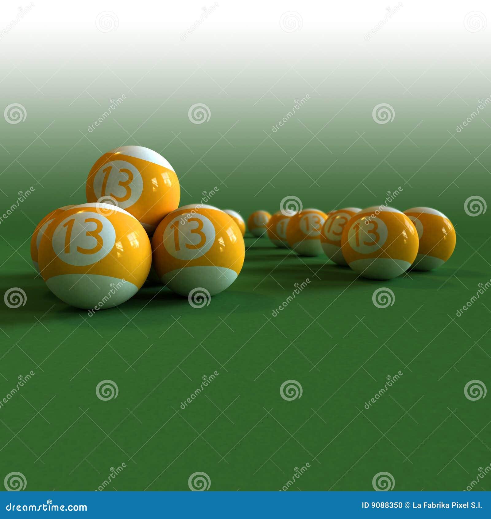 Glückliche Billiardkugeln auf einer grünen Filztabelle