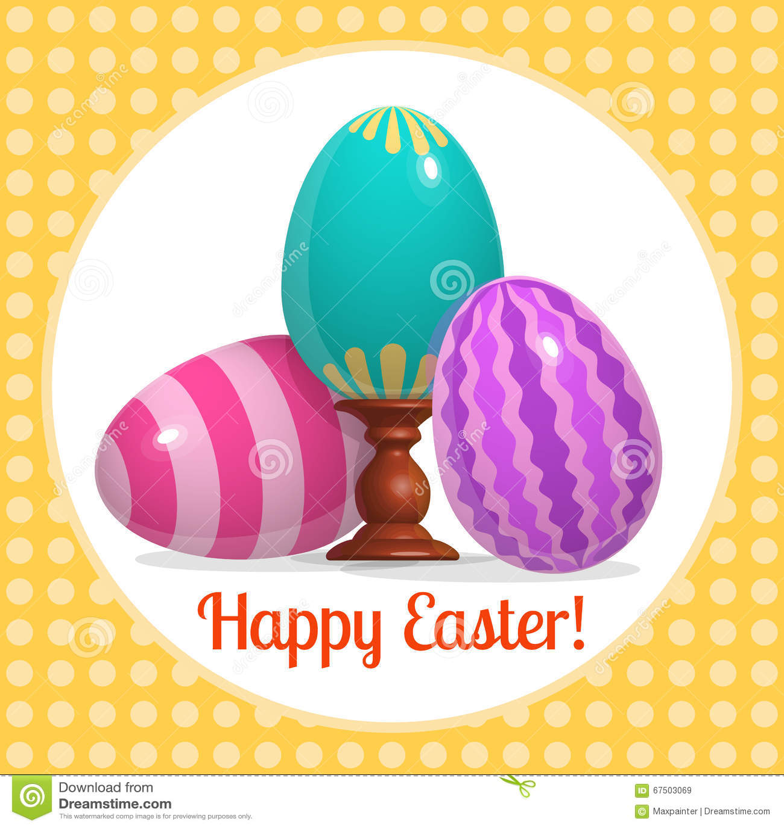 Glückliche Blaue Eier Ostern Plakats Drei Vektor Abbildung