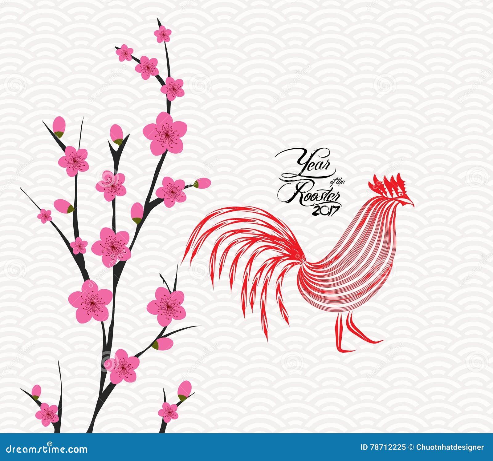 Glückliche chinesische Karte des neuen Jahres 2017 ist Blüte Jahr des Hahns