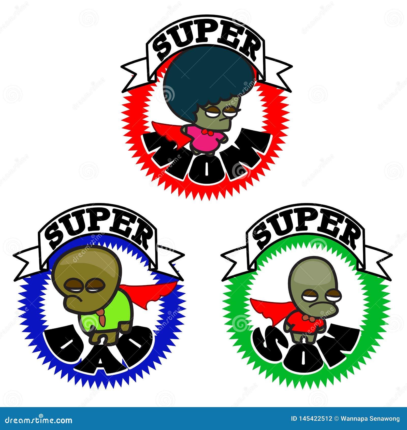 Gl?ckliche Familie des Superhelden - grafische Ikone der Karikatur