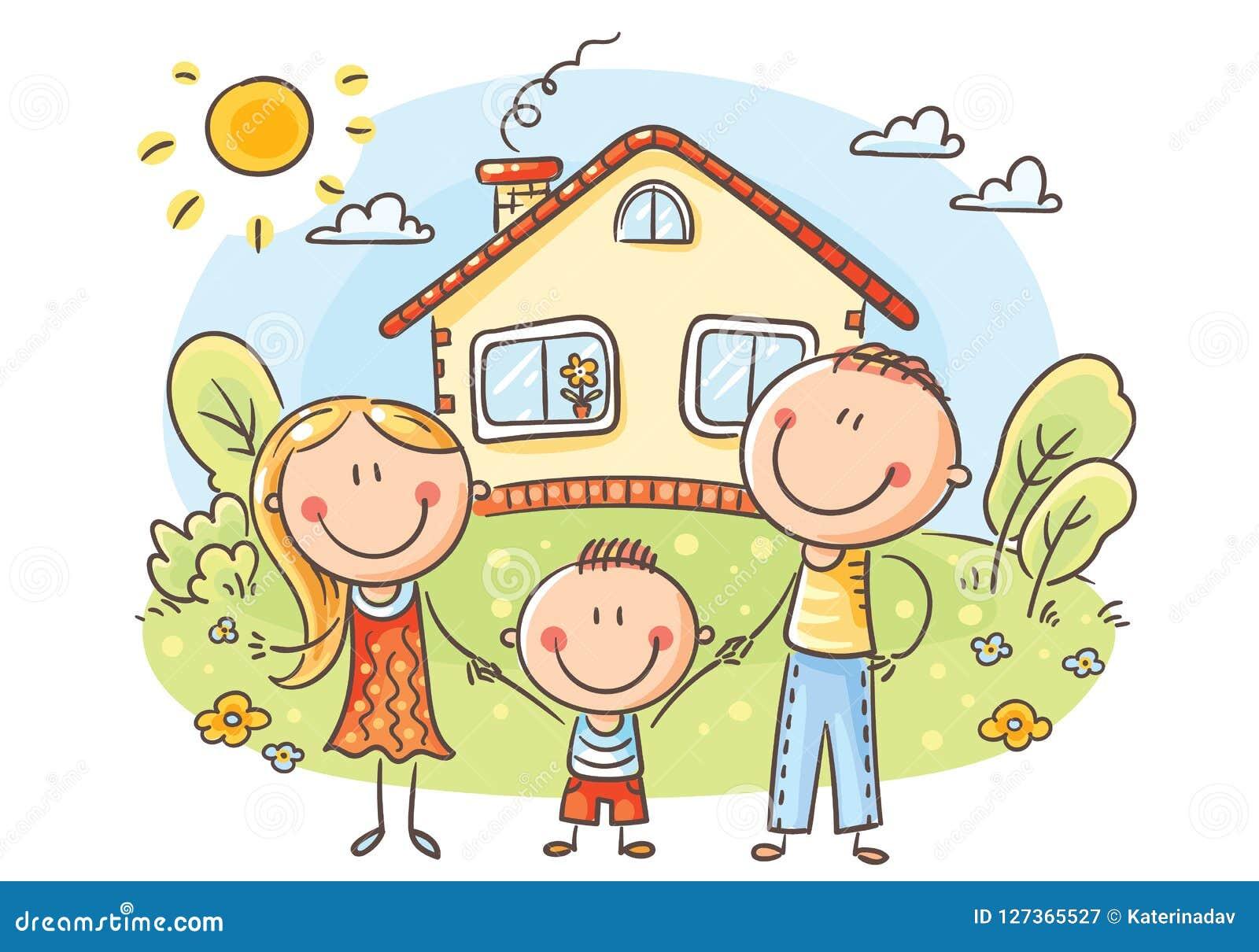 Glückliche Familie mit einem Kind nahe ihrem Haus
