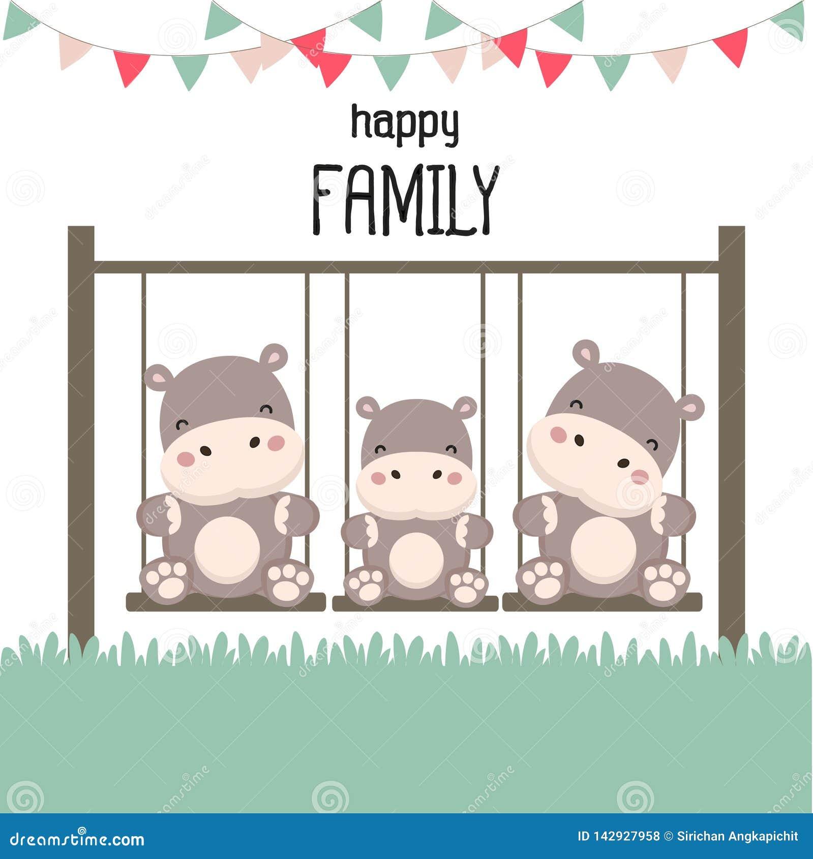 Glückliche Familie mit Nilpferd auf Schwingen