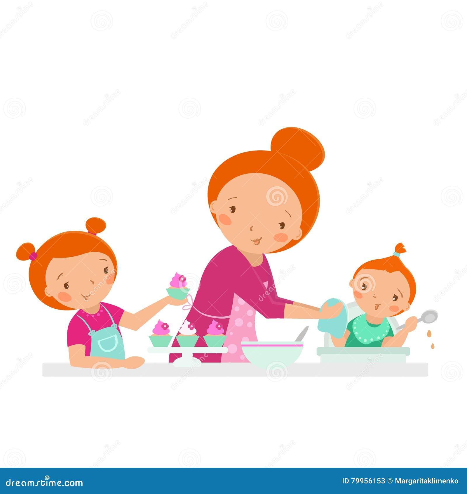 Glückliche Familie Mutter mit zwei Töchtern, die an der Küche kochen