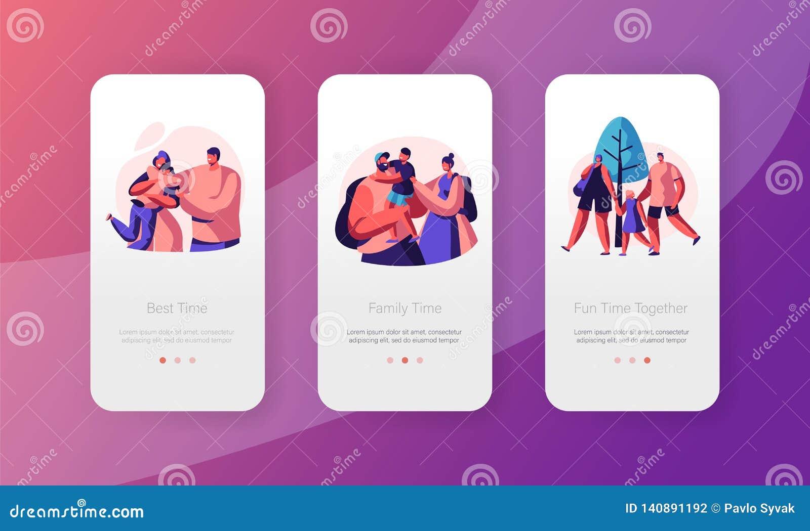 Glückliche Familien-Leute bewegliche App-Seite an Bord des Schirm-Satzes Vati-Mutter-und Sohn-Charakter-Verhältnis Elternteil und