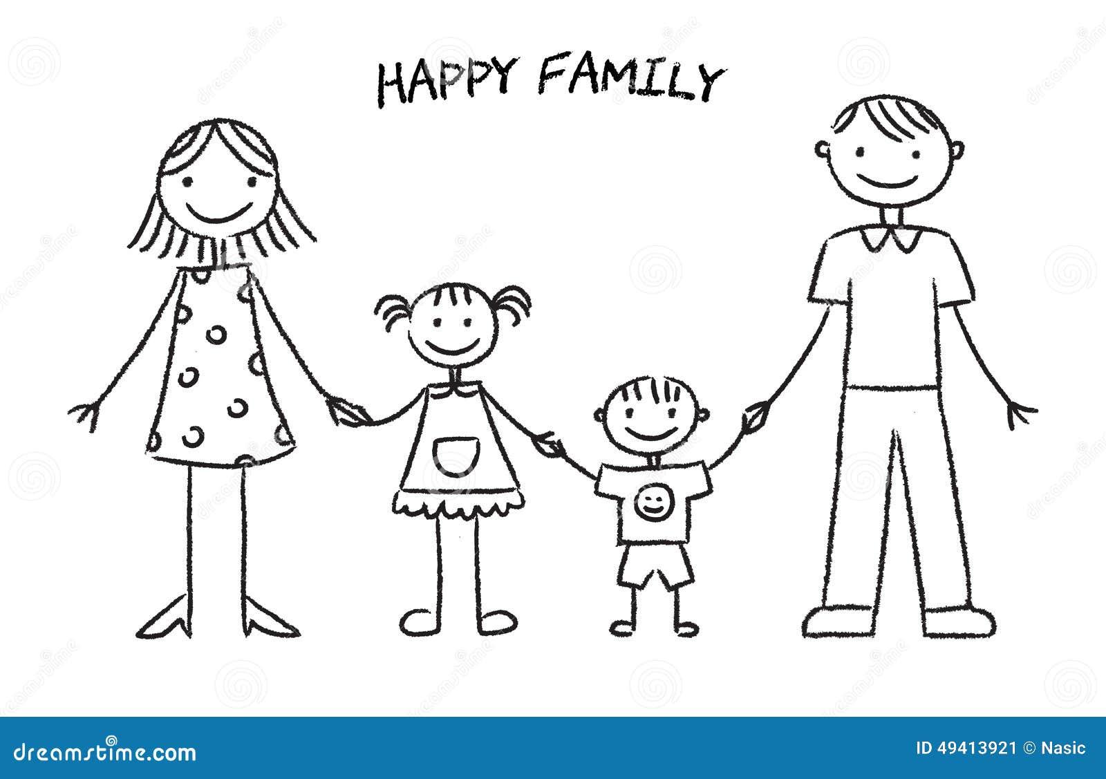 Download Glückliche Familien-Skizze vektor abbildung. Illustration von gestikulieren - 49413921