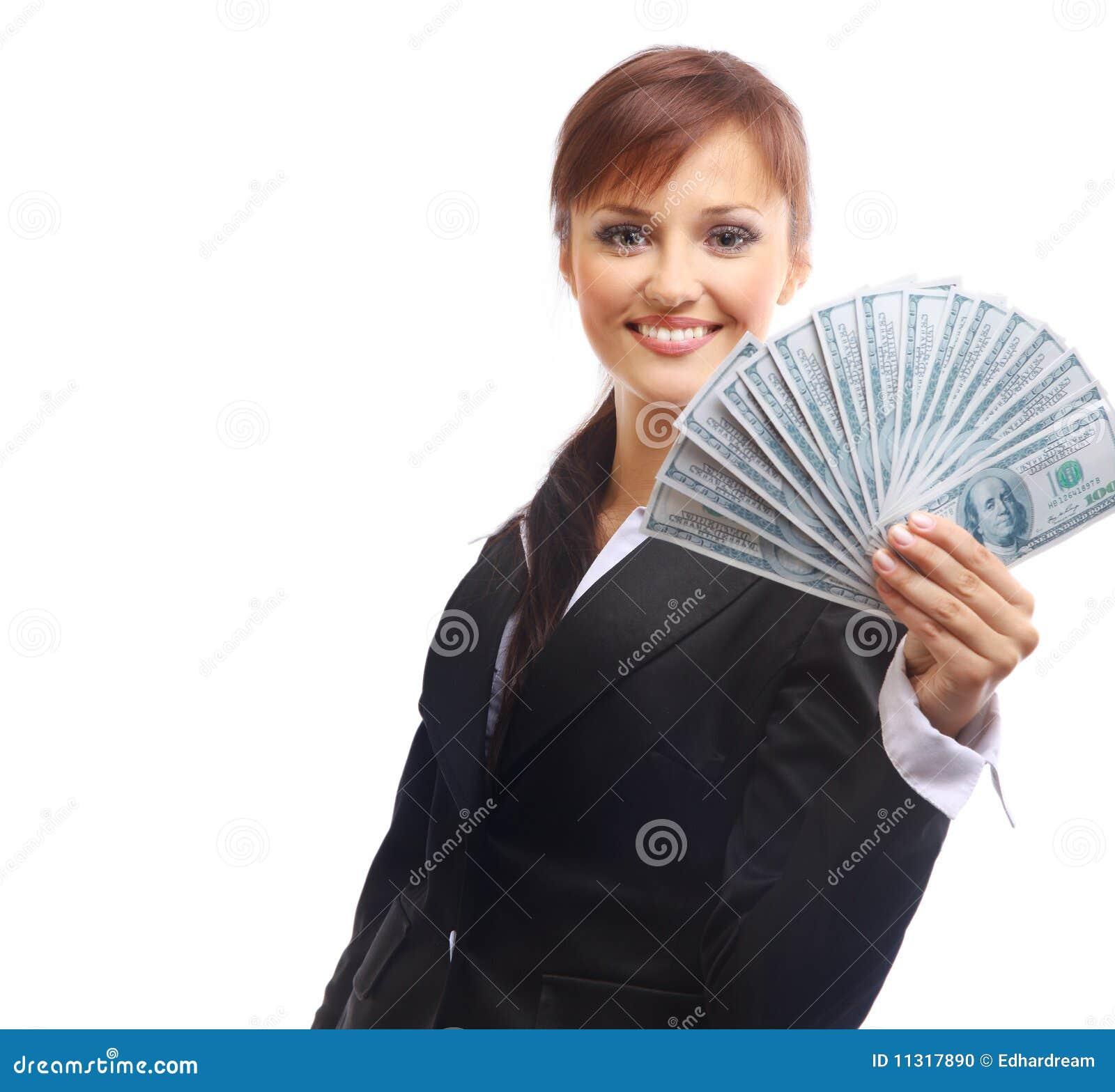 Glückliche Frau mit Dollar