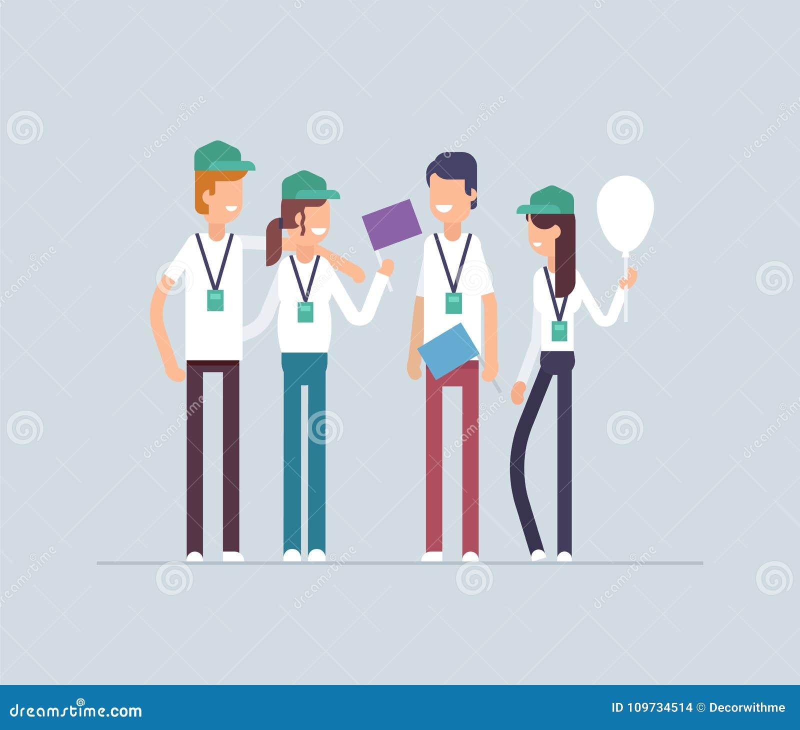 Glückliche Freiwillige, die zusammen stehen - moderne flache Designart lokalisierte Illustration