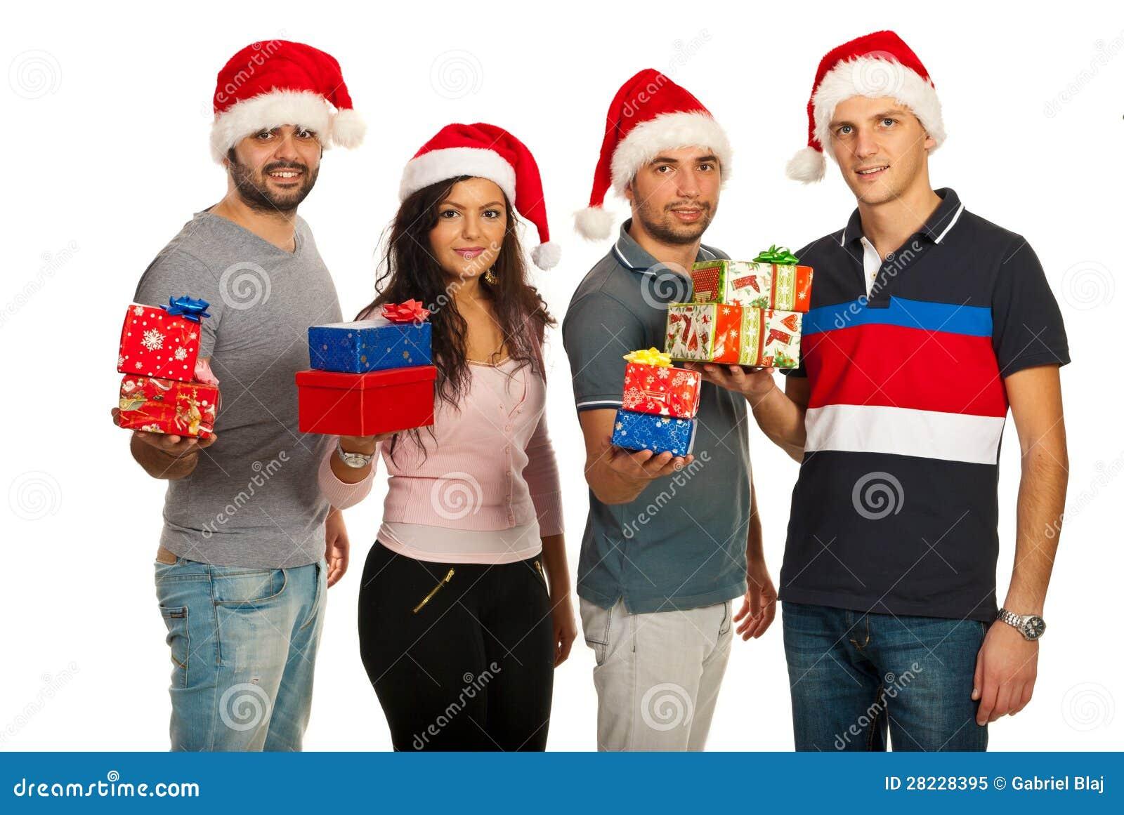 Glückliche Freunde, Die Weihnachtsgeschenke Anhalten Stockbild ...