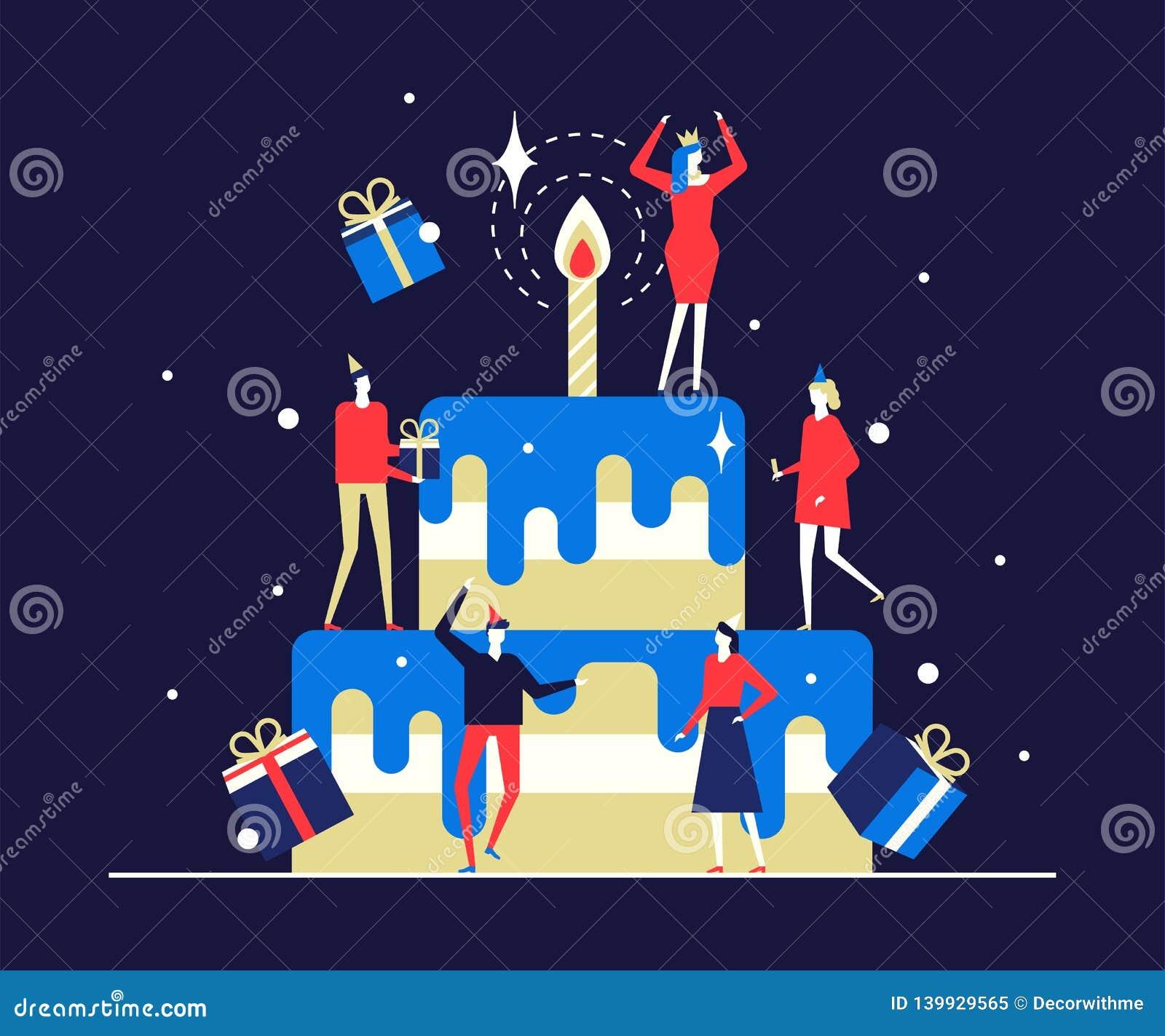 Glückliche Geburtstagsfeier - flache Entwurfsartillustration