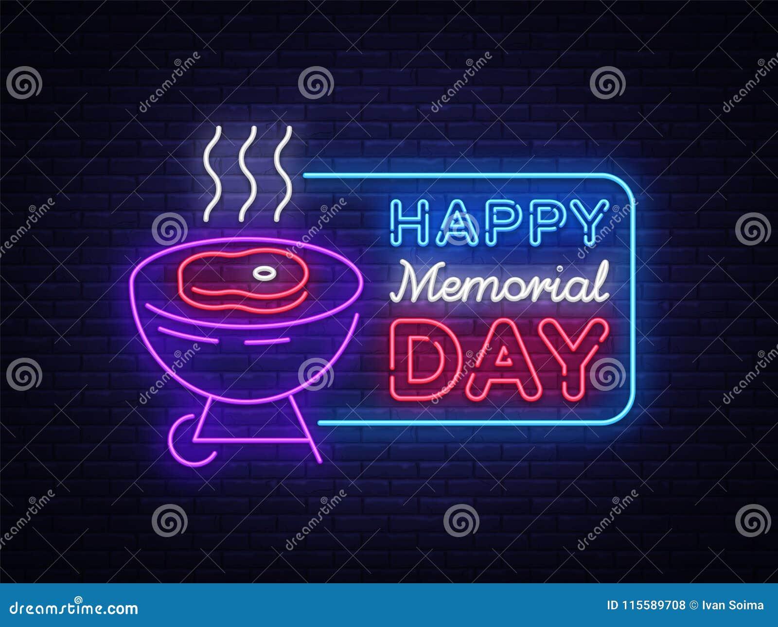 Glückliche Grußkarte für Memorial Day -Leuchtreklame Glücklicher Tag des Gedächtnisses - grillen Sie Grill BBQ-Fahne in der Neona