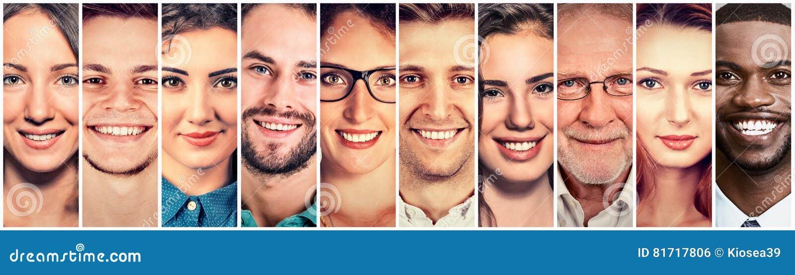 Glückliche Gruppe multiethnische Leutemänner und -frauen