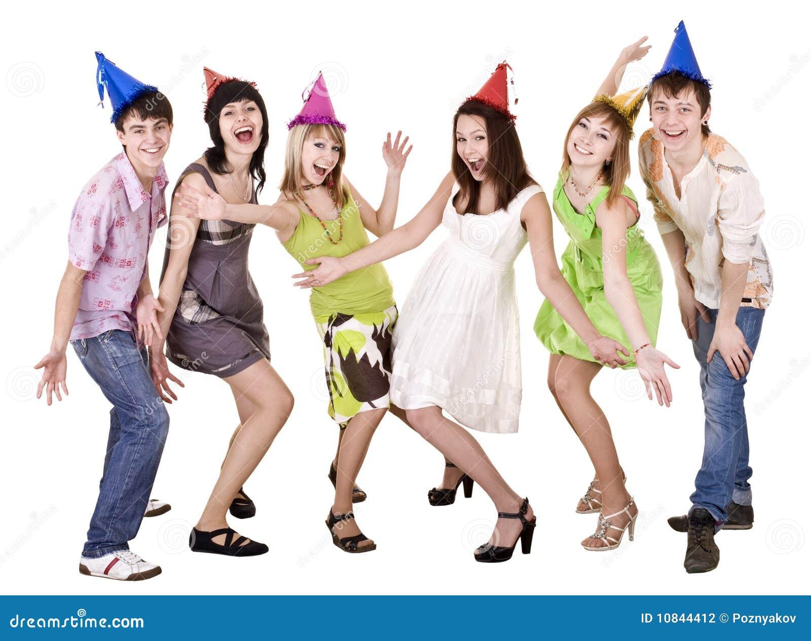 Glückliche Gruppe von Personen feiern Geburtstag.