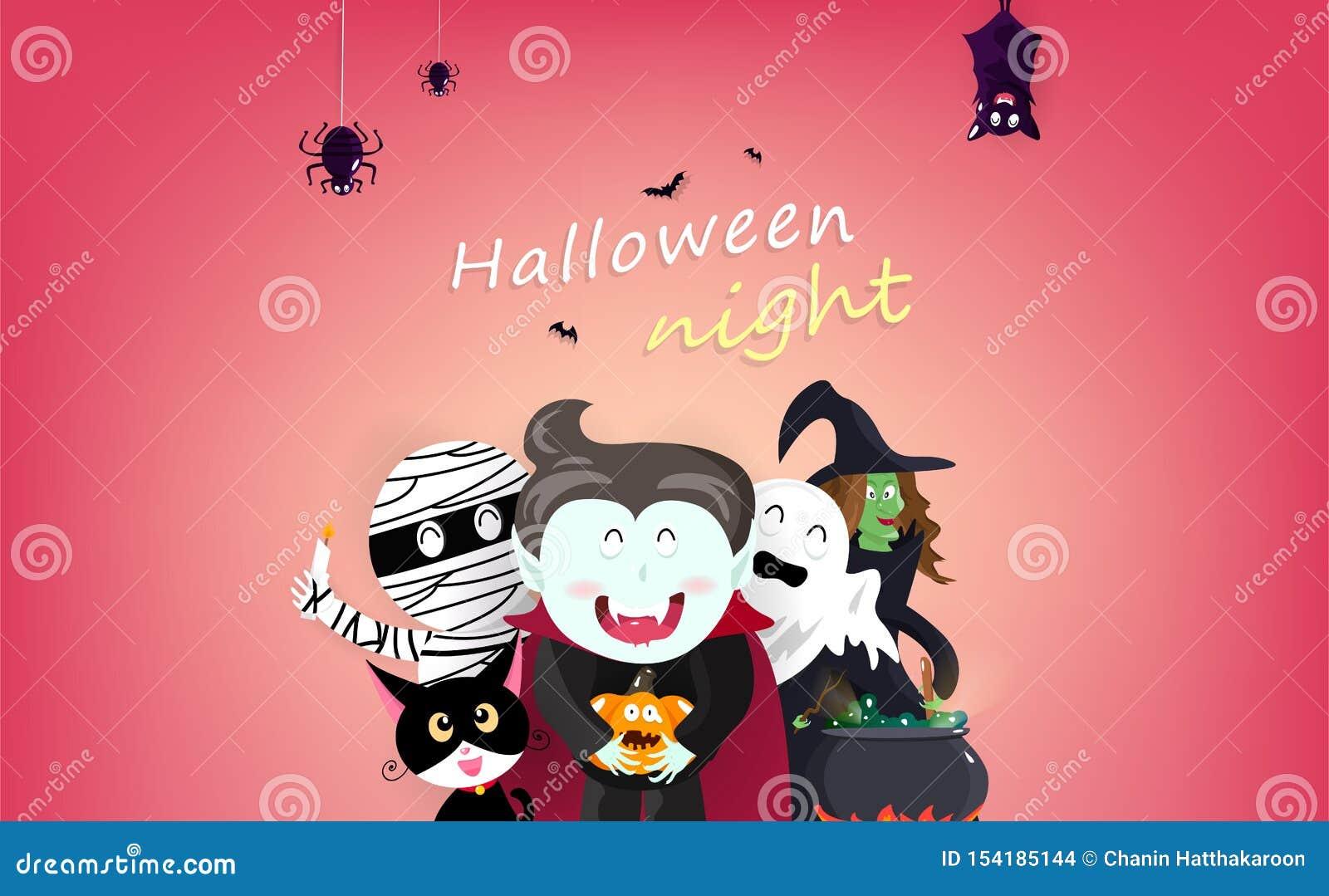 Glückliche Halloween-Grußkartenpartei, Vampir, Hexe, Mama, Schläger, Spinne, Katze und Kürbis, Zeichentrickfilm-Figur-Einladungsp