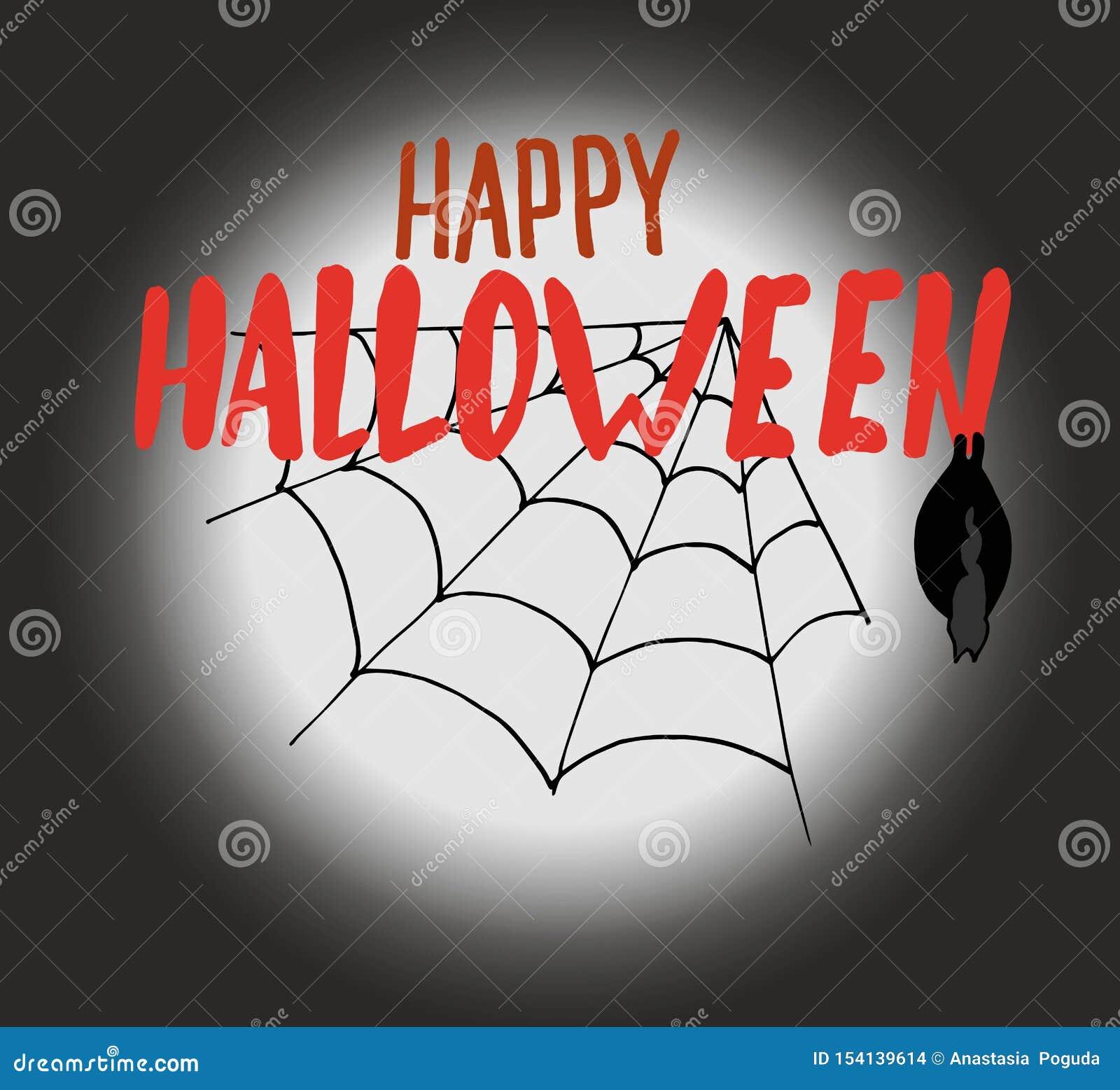 Glückliche Halloween-handzeichnung, die auf einem dunklen Hintergrund des Mondes mit einem Spinnennetz und einem Schläger lettrin