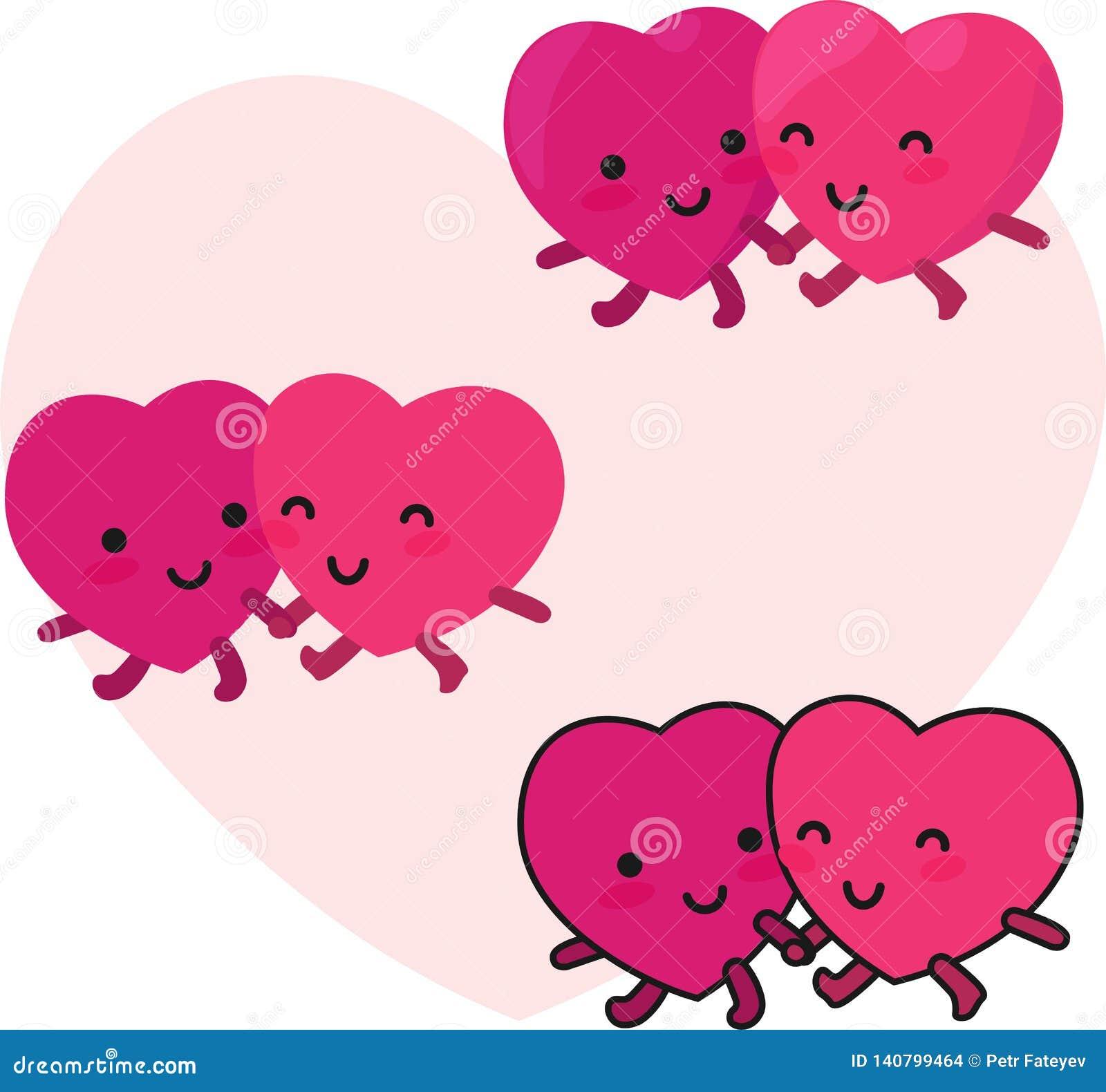 Glückliche Herzen verbinden