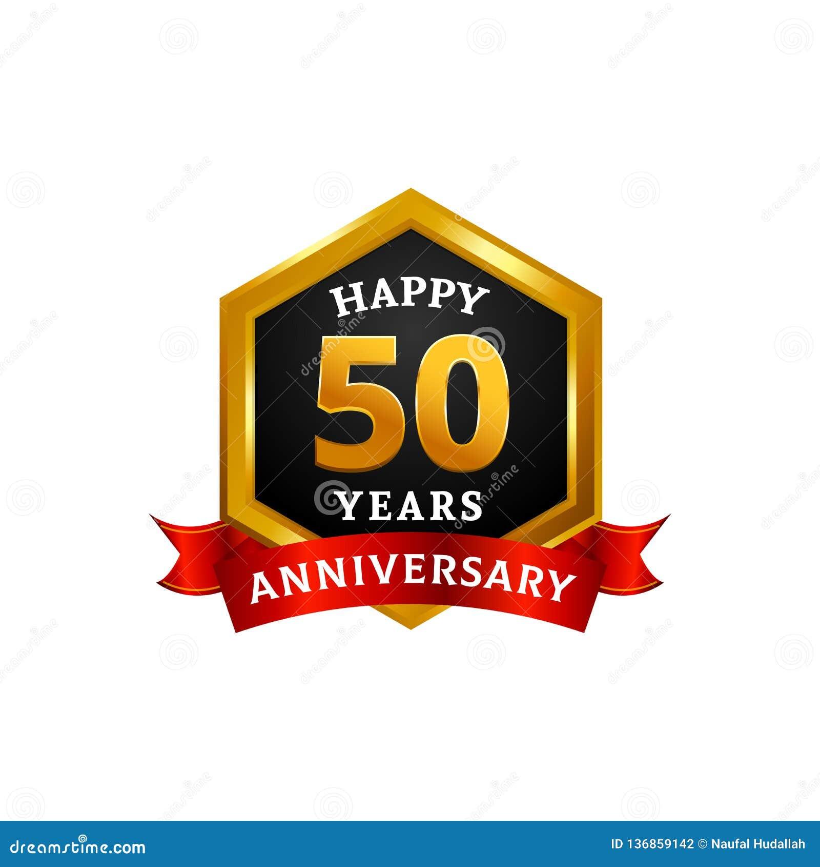 Glückliche 50 Jahre goldene Jahrestagslogo-Feier mit Diamantrahmen und -band