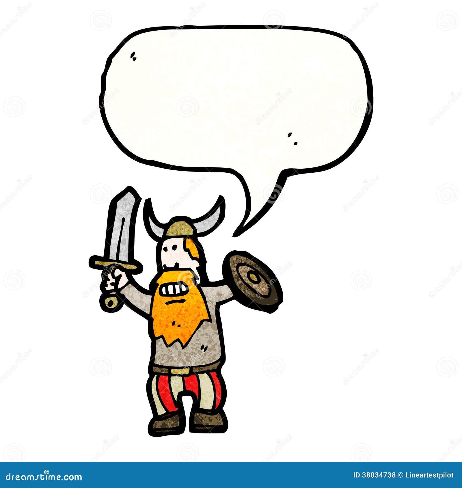 Gluckliche Karikatur Wikinger Vektor Abbildung Illustration Von