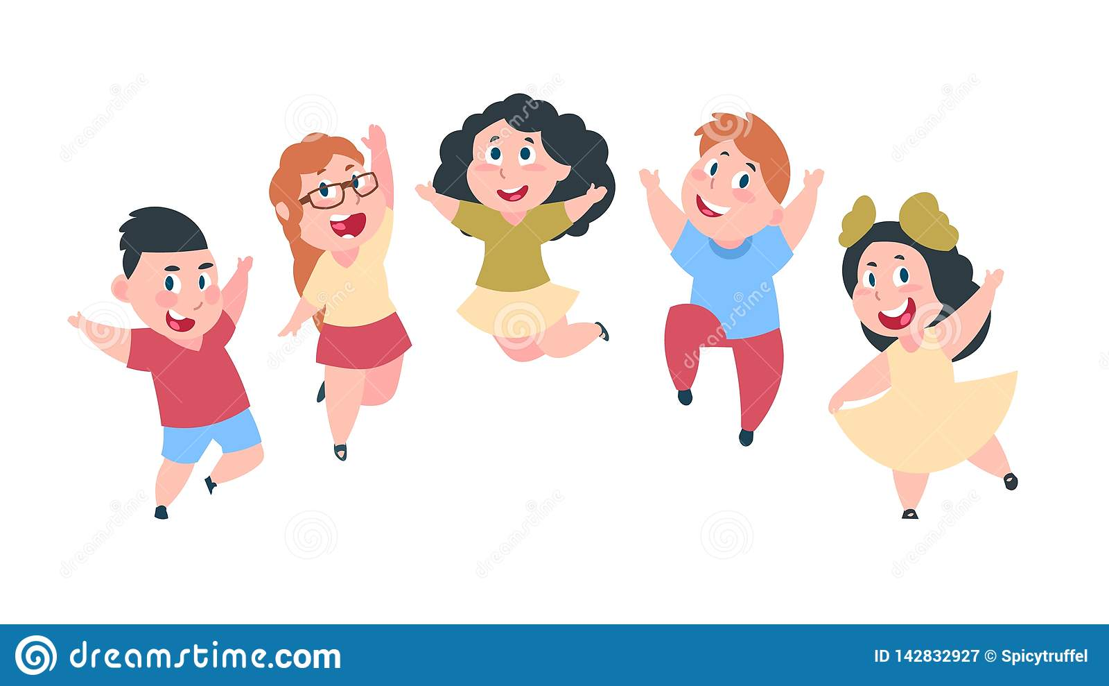 Glückliche Karikaturkinder Nette Jungen- und Mädchenkinder, Gruppe Schüler, Kinderfreundschaftskonzept Vektor lokalisiert