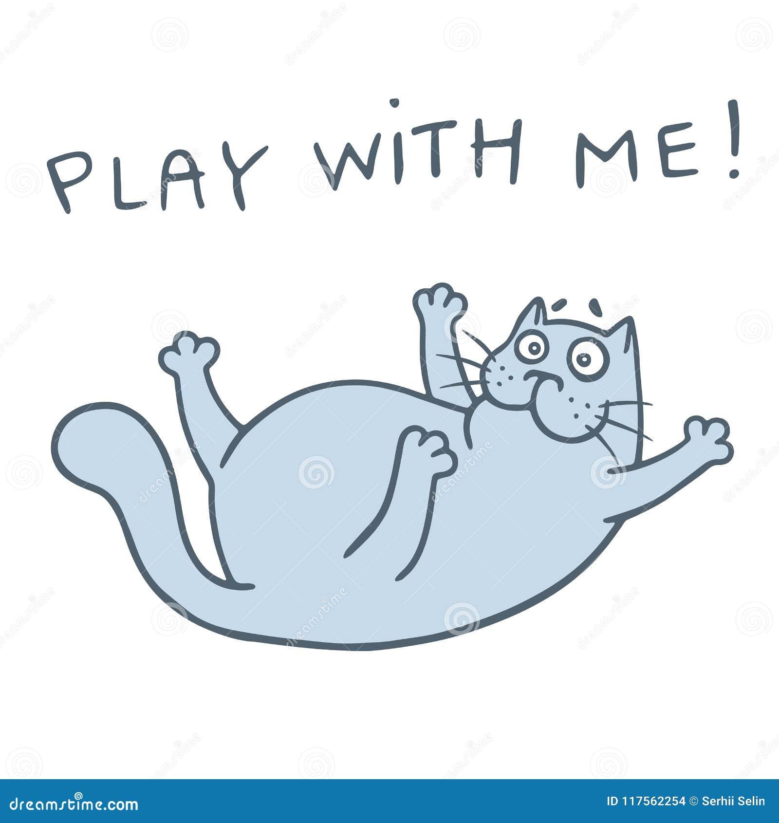 Glückliche Katze der Karikatur möchte ein Spiel spielen Auch im corel abgehobenen Betrag