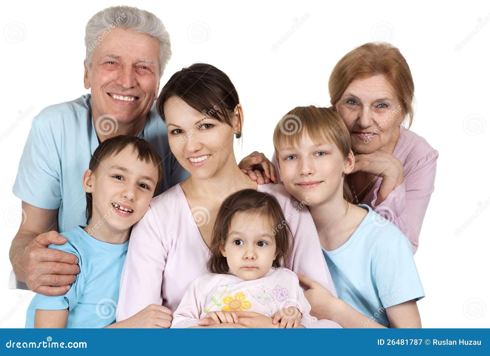 Glückliche kaukasische Familie von sechs