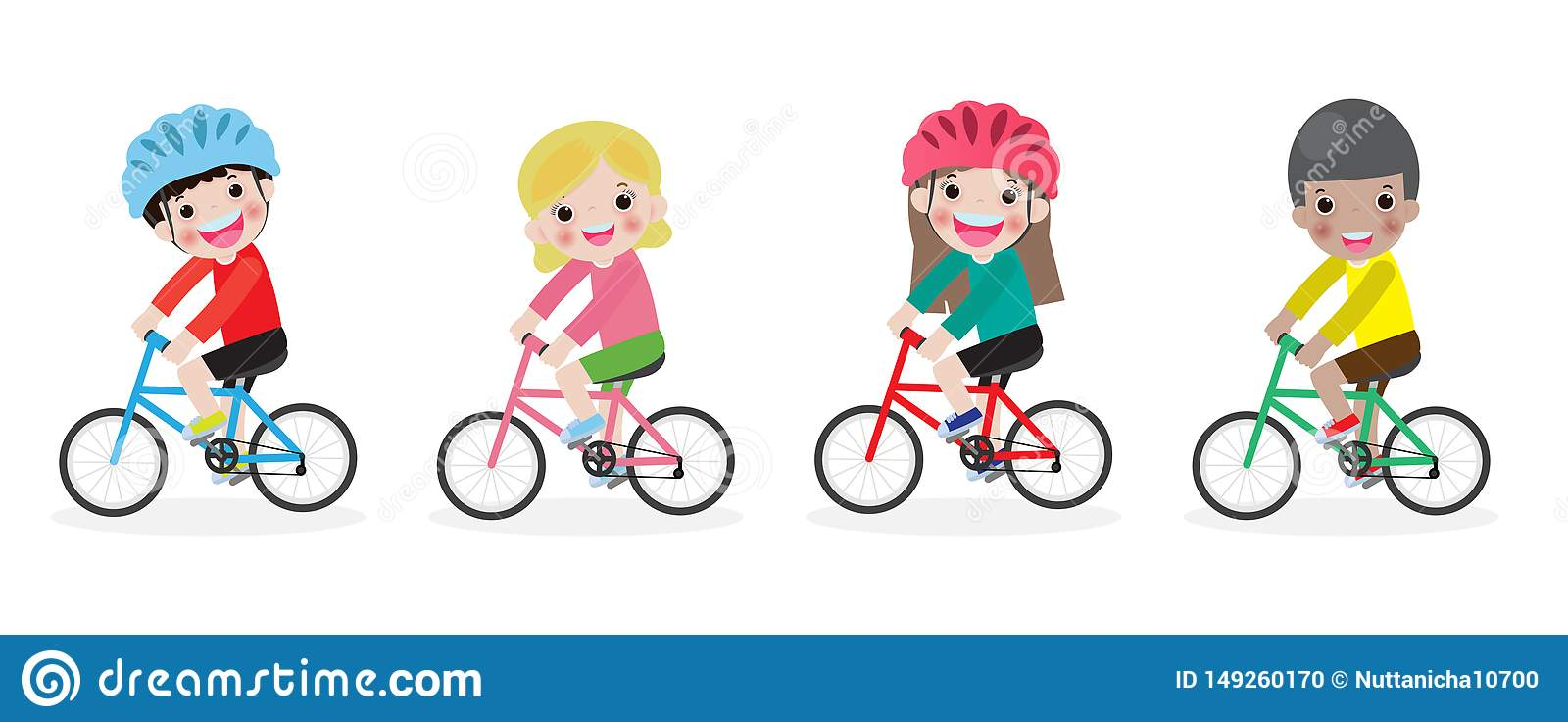 Gl?ckliche Kinder auf Fahrr?dern, Kinderreitfahrrad, Kinder, die Fahrr?der, Kinderreitfahrrad, Kind auf Fahrradvektor auf dem wei