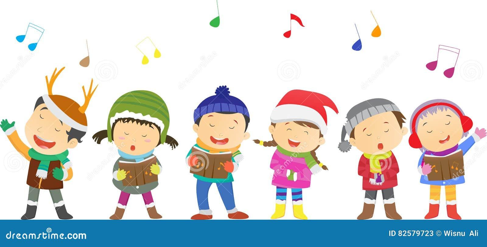 Weihnachtslieder Kinder Kostenlos.Glückliche Kinder Die Weihnachtslieder Singen Vektor Abbildung