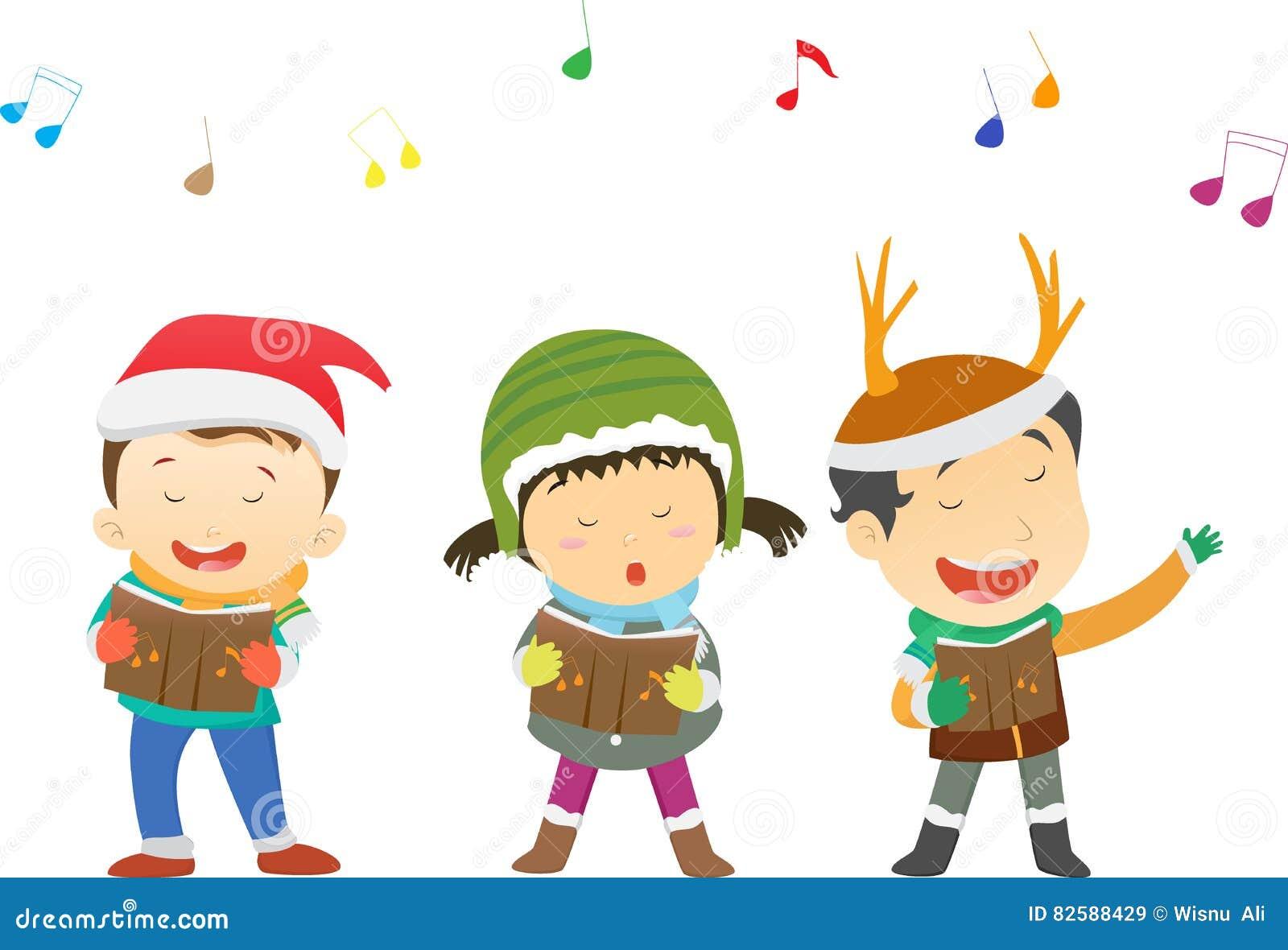 Glückliche Kinder, Die Weihnachtslieder Singen Vektor Abbildung ...