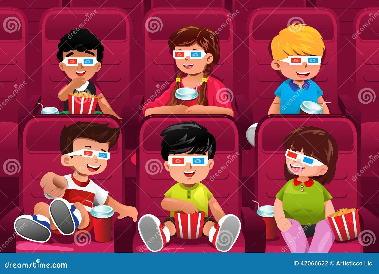 Glückliche Kinder, die zu einem Film gehen