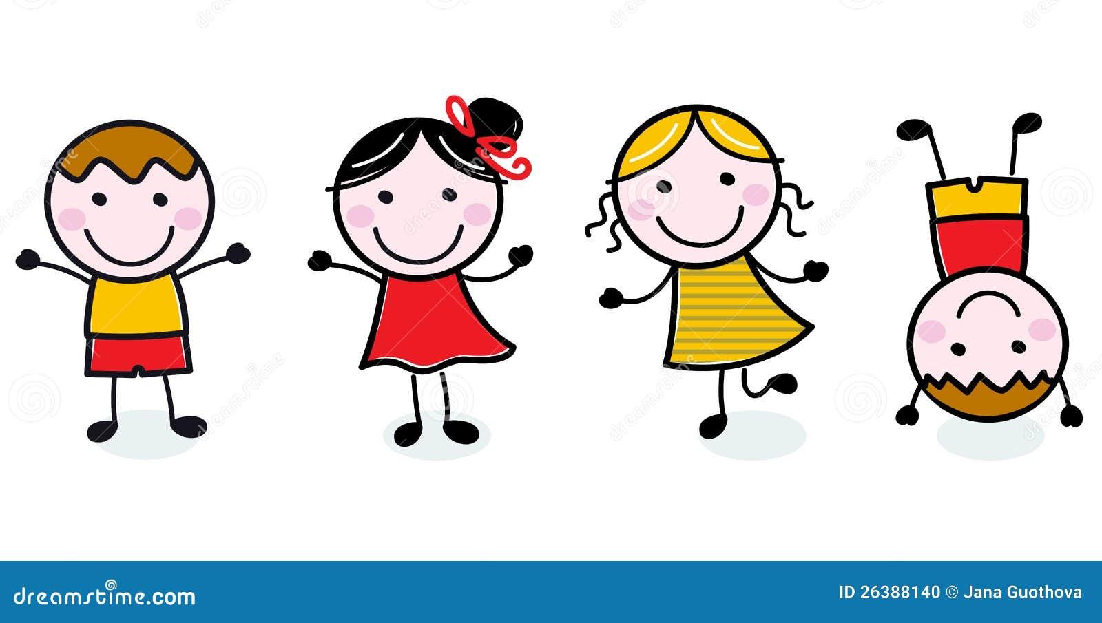 Glückliche Kindgruppe des Gekritzels getrennt auf Weiß