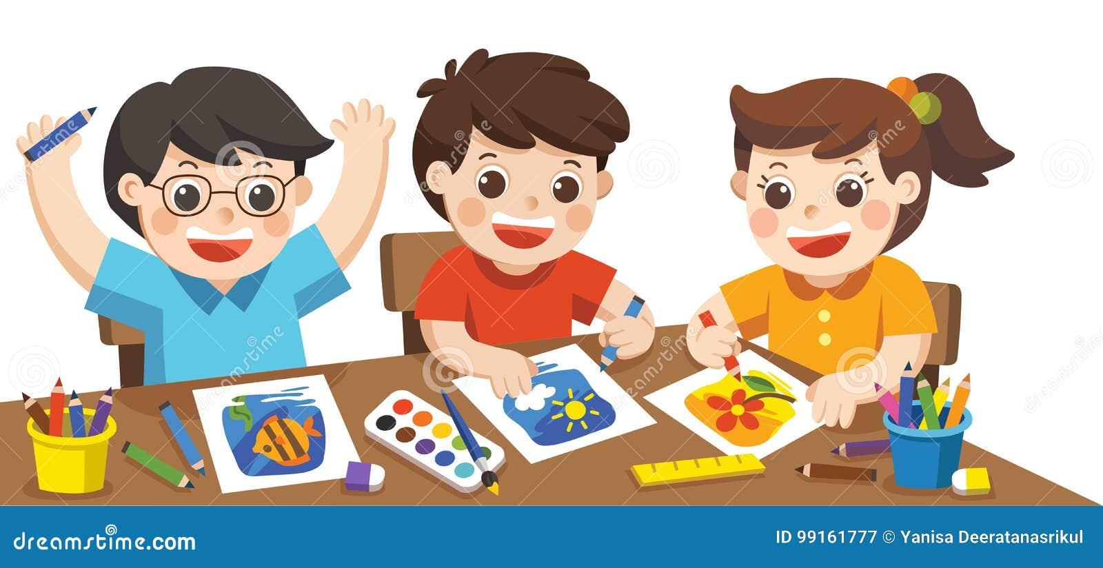 Glückliche Kreative Kinder Die Malen Skizzierend Spielen Vektor