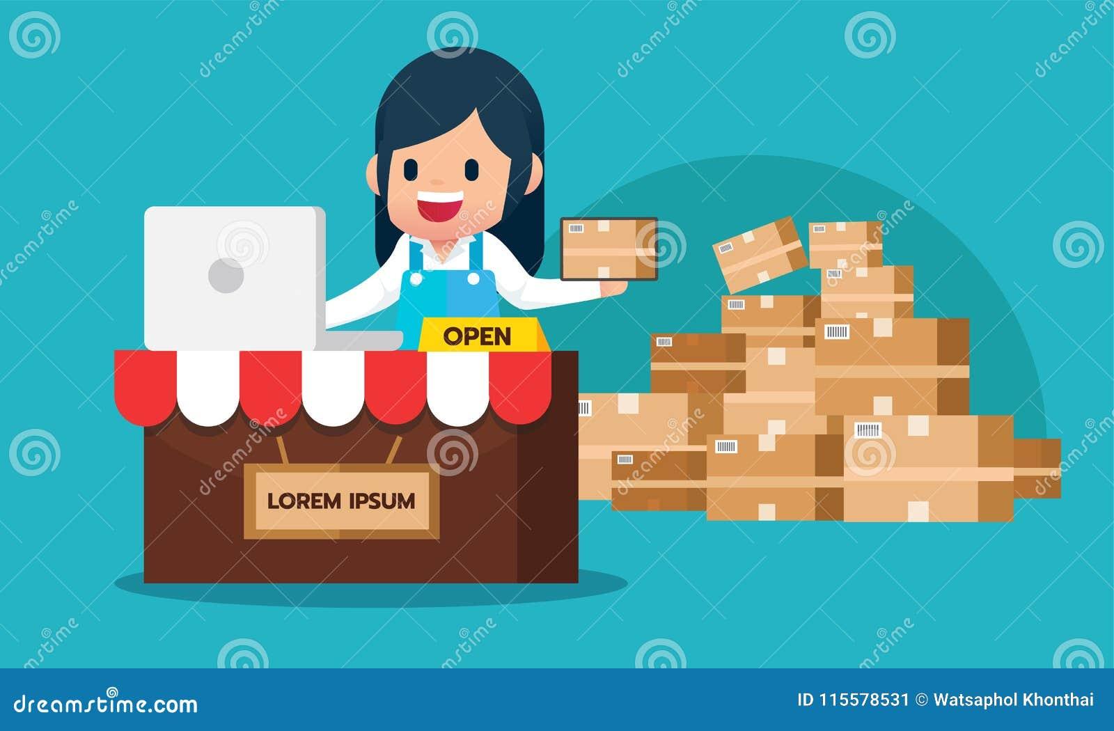 Glückliche Mädchenkontrollbestellung vom Laptop kaufender on-line-E-Commerce speichern Konzept mit paperbox Paket