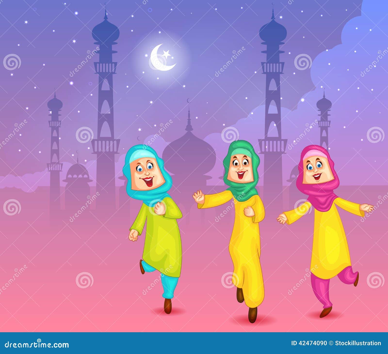 Glückliche moslemische Mädchen, die Eid Mubarak wünschen