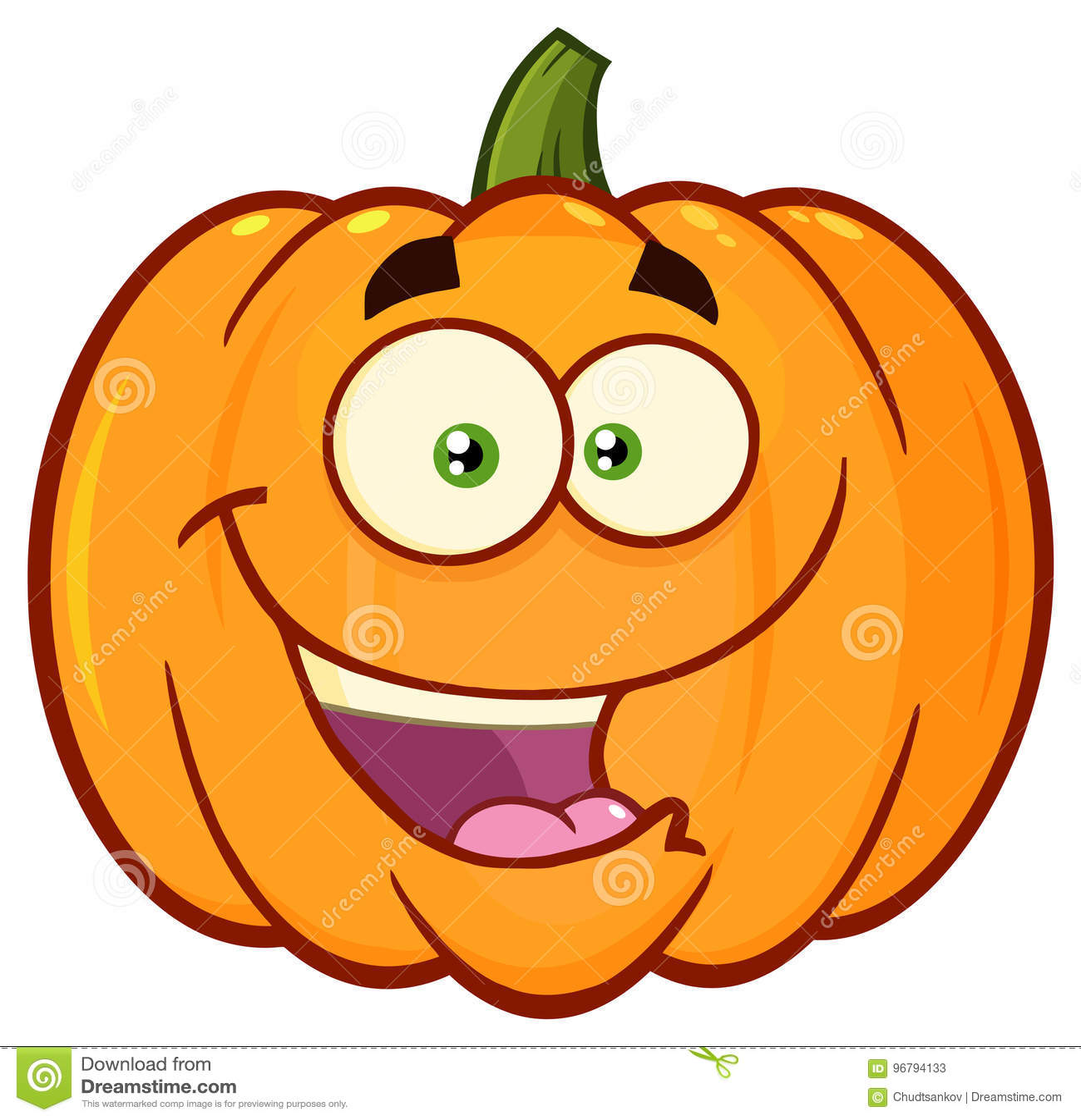 Glückliche Orange Kürbis-Gemüse-Karikatur Emoji Stellen Charakter ...