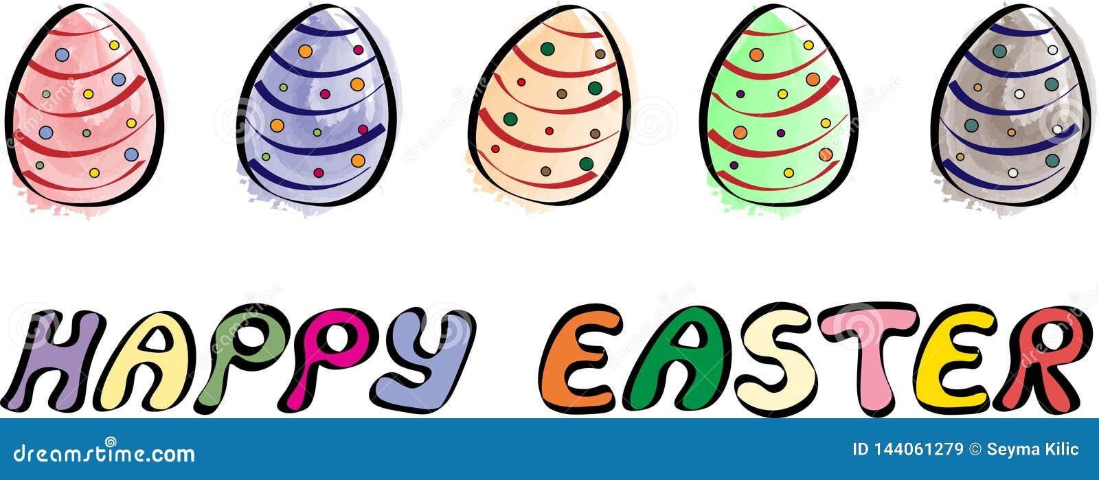 Glückliche Ostern-Fahne mit der fünf Ei-Illustration