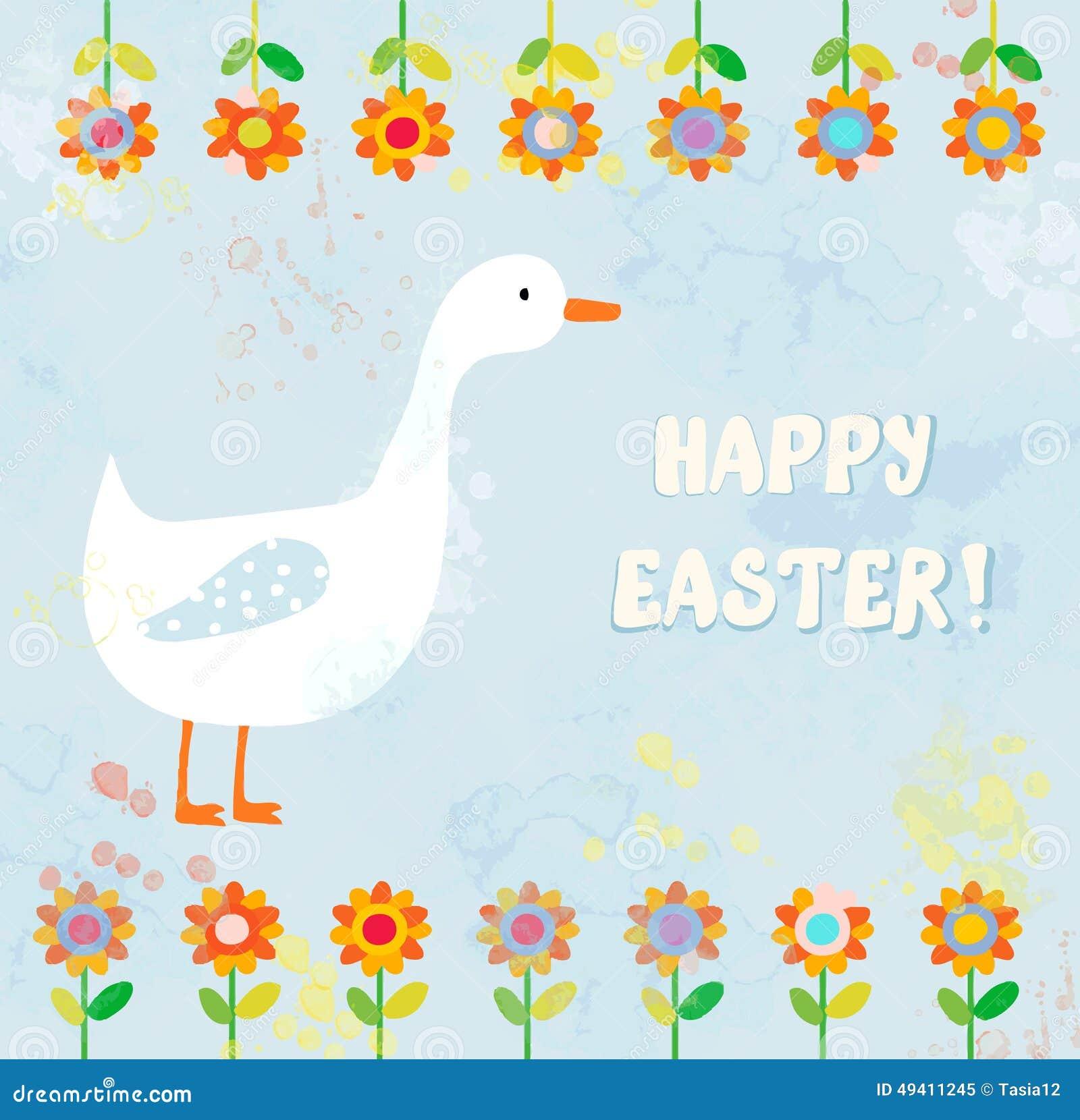 Download Glückliche Ostern-Karte Mit Gans Vektor Abbildung - Illustration von schön, nett: 49411245