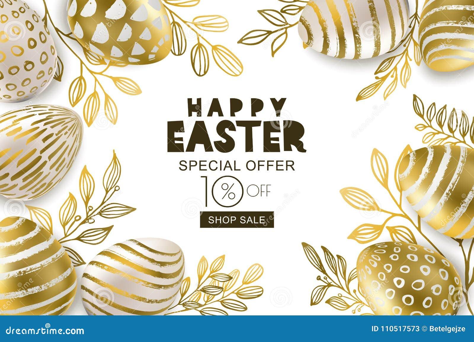 Glückliche Ostern-Verkaufsfahne Goldene Eier 3d des Vektors und Gold-leves Entwerfen Sie für Feiertagsflieger, Plakat, Parteieinl