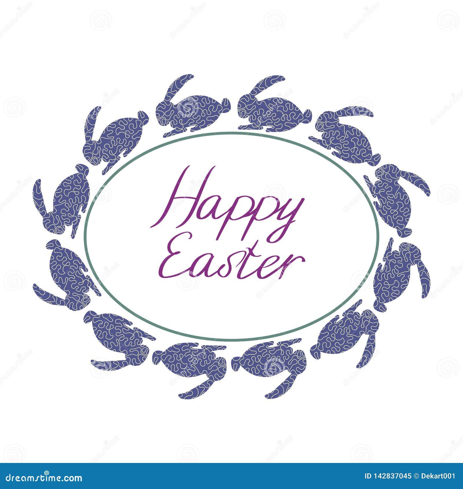 Gl?ckliche Ostern-Zusammensetzung mit blauen Kaninchen, ovalem Rahmen und Text mit wei?em Hintergrund