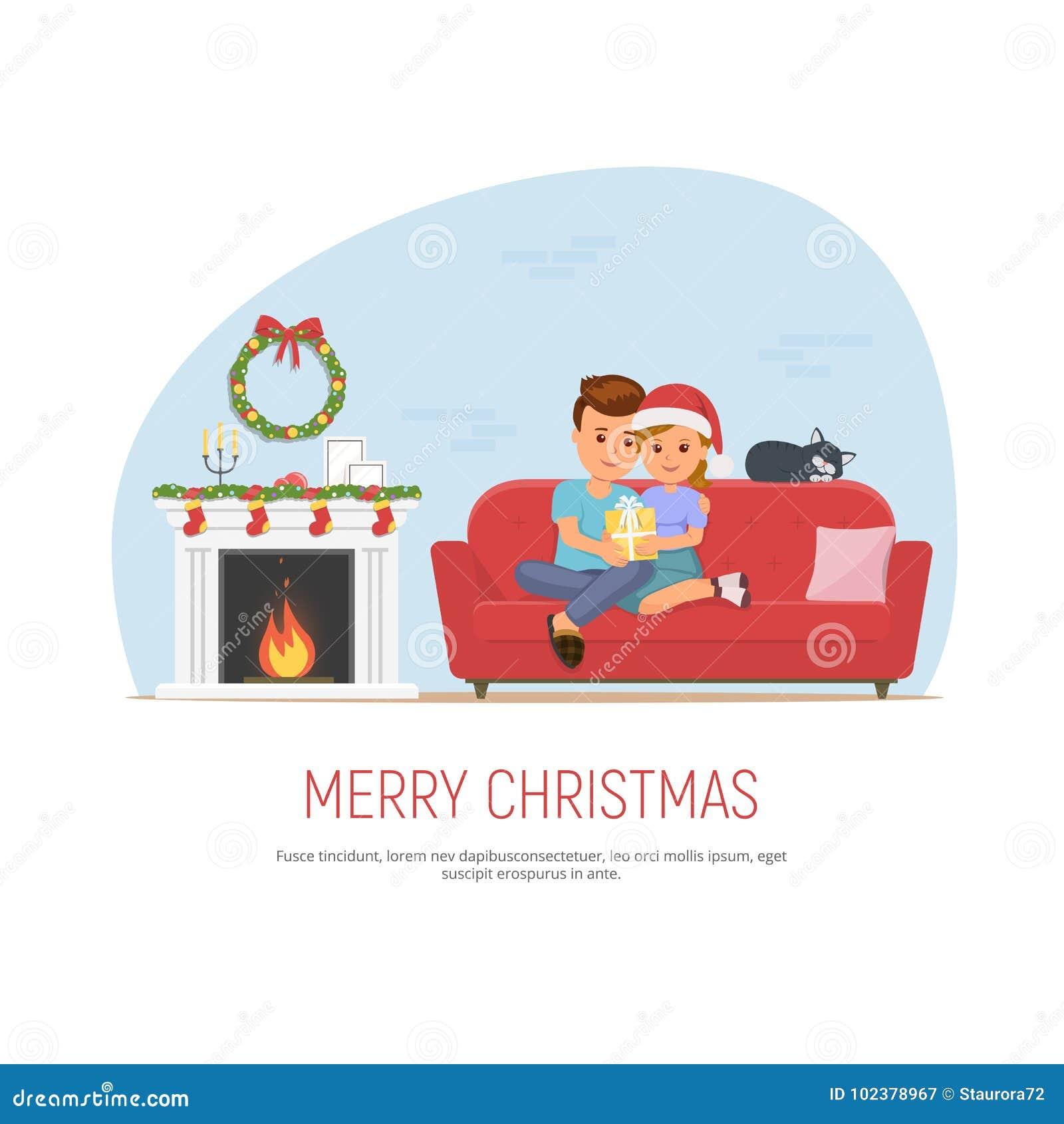 Glückliche Paare, Die Weihnachten Feiern Mädchen Gibt Dem Mann Ein ...