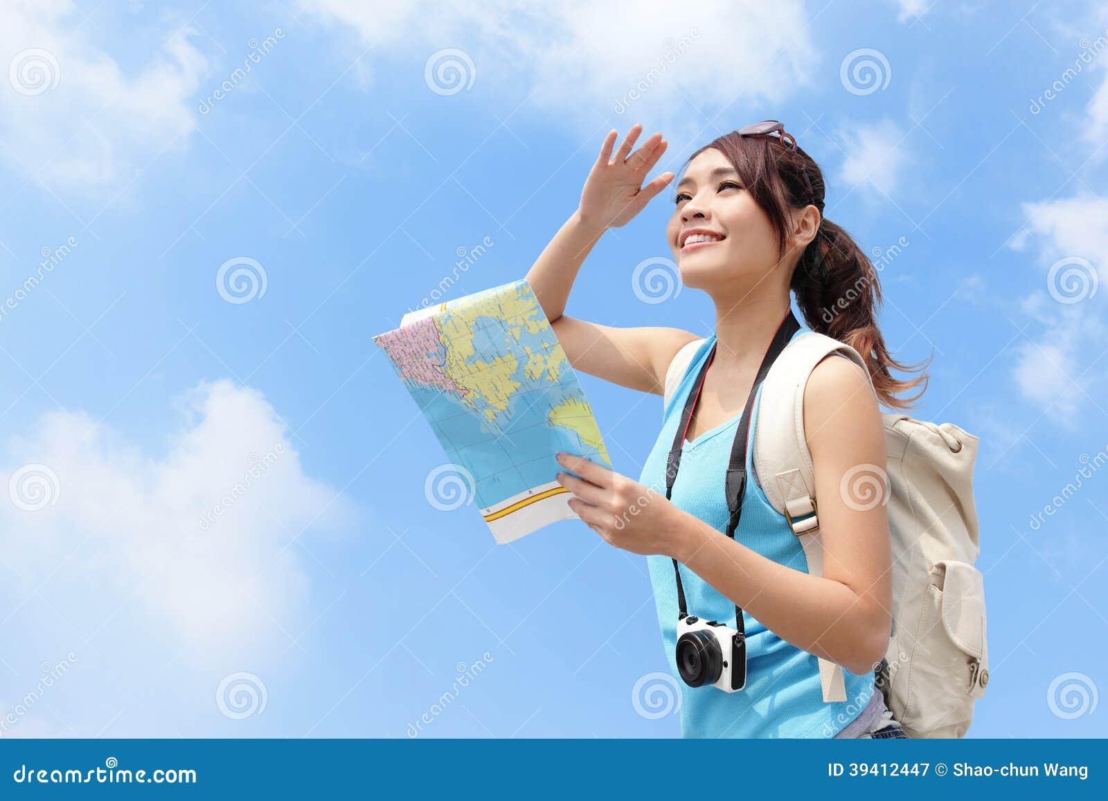 Glückliche Reisefrauen-Blickkarte