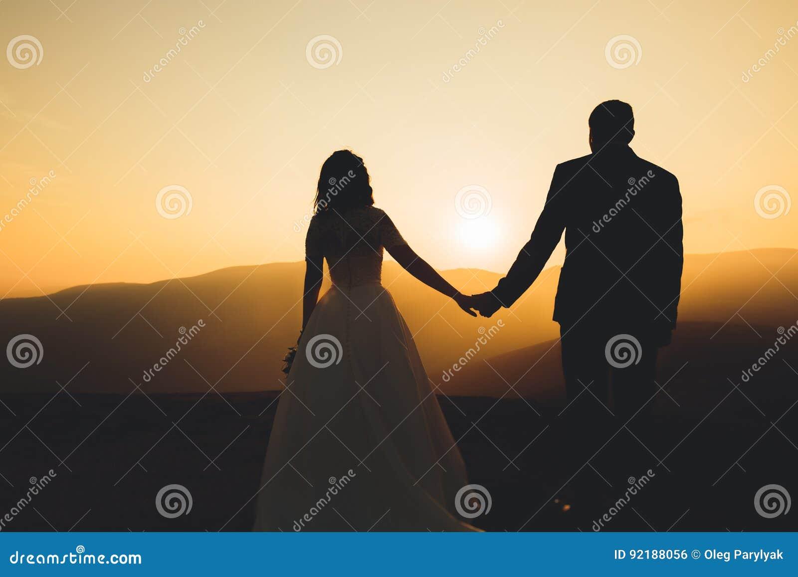 Glückliche schöne Hochzeitspaarbraut und -bräutigam am Hochzeitstag draußen auf den Bergen schaukeln Paare der glücklichen Heirat
