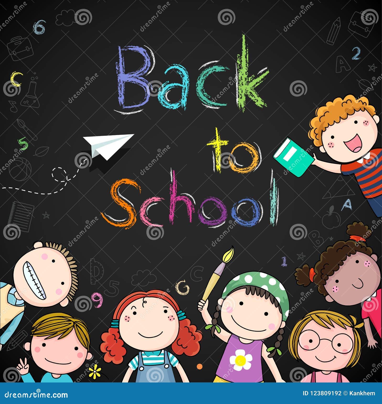 Glückliche Schulkinder und zurück zu Schulhintergrund