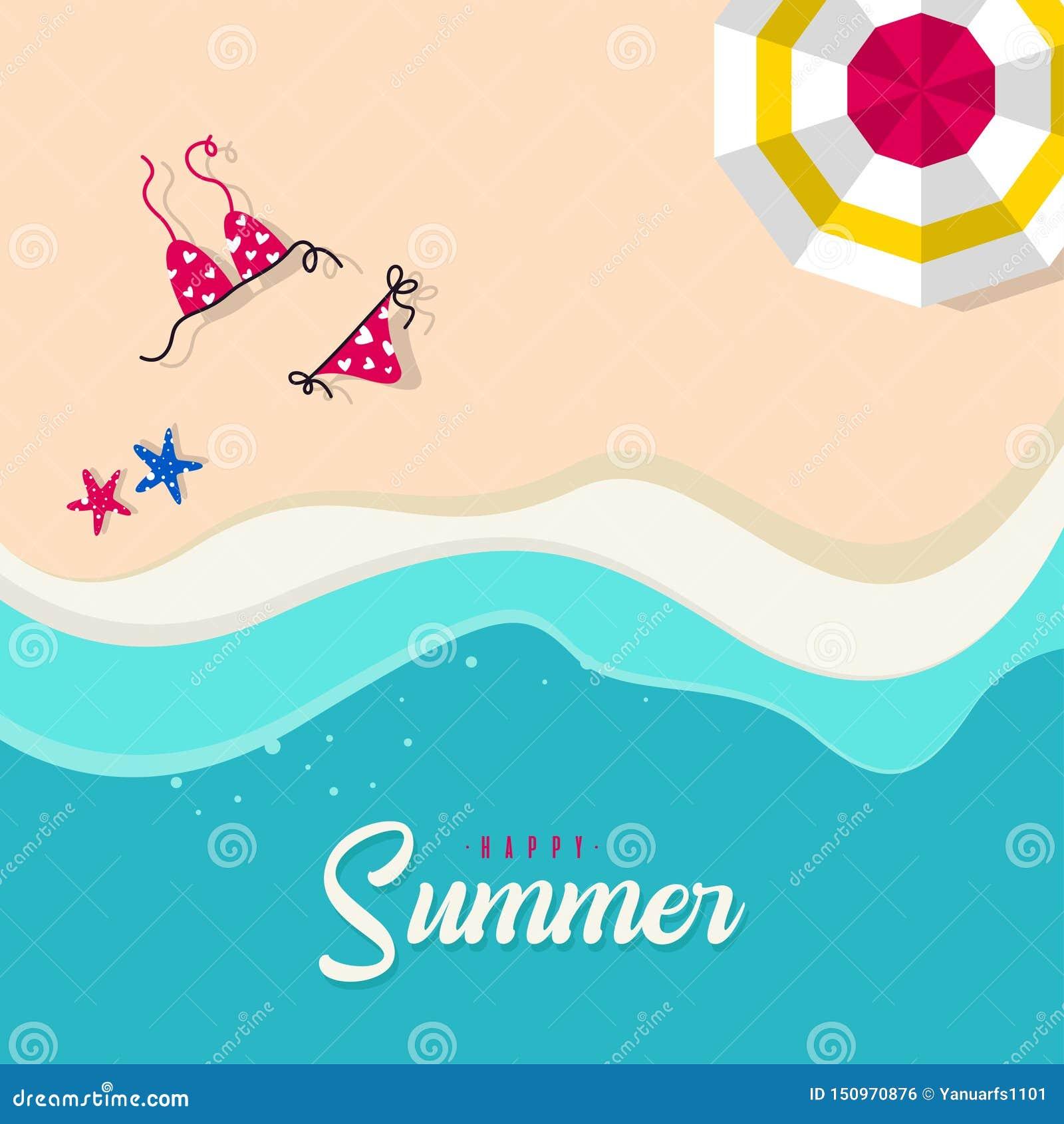 Glückliche Sommerferien in der Strandillustration Tropischer Feiertag in der Sommerillustration