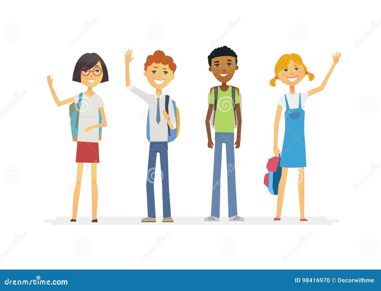 Glückliche stehende Schulkinder mit Rucksäcken - Karikaturleutecharaktere lokalisierten Illustration