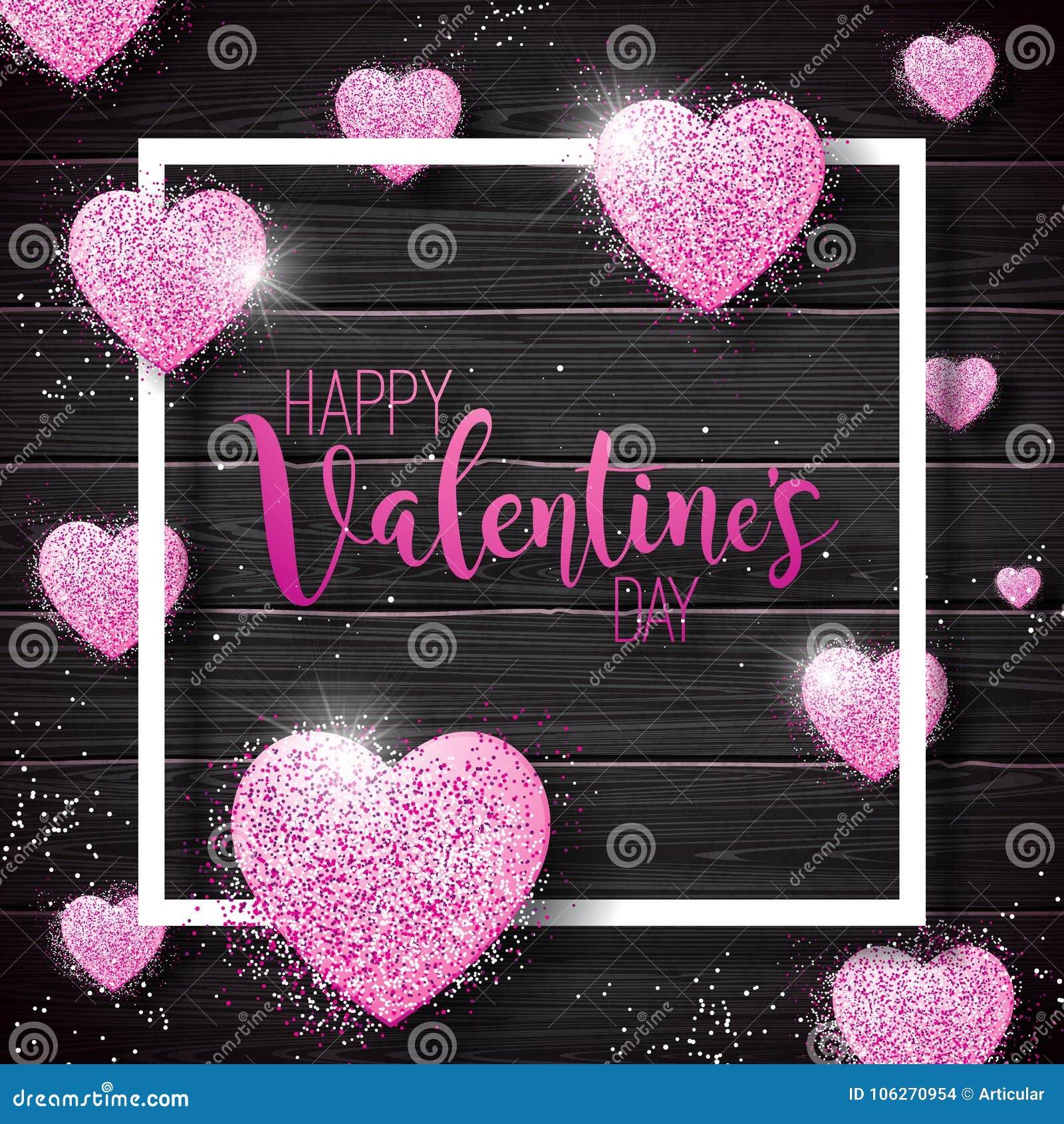 Glückliche Valentinsgruß-Tagesillustration mit rosa gefunkeltem Herd auf Weinlese-Holz-Hintergrund Vektor-Hochzeit und Liebes-The