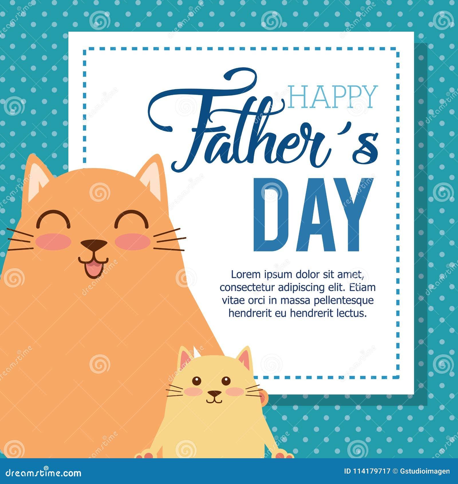 Glückliche Vatertagskarte Mit Katzen Vektor Abbildung Illustration